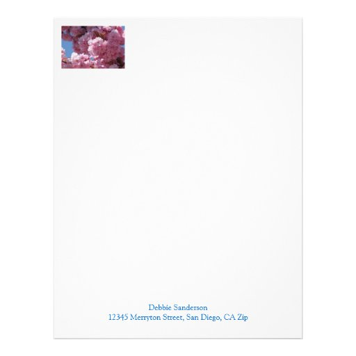Flores de cerezo rosadas membrete a diseño