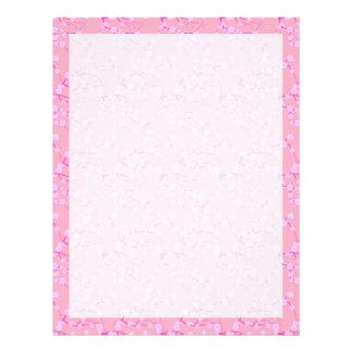 Flores de cerezo rosadas membrete personalizado