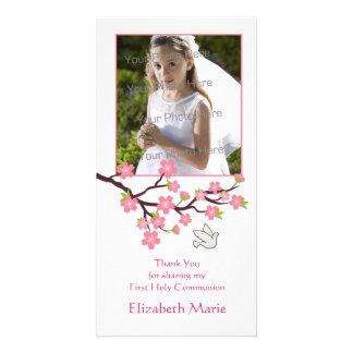 Flores de cerezo rosadas paloma tarjeta religios plantilla para tarjeta de foto