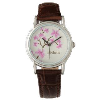 Flores de cerezo rosadas reloj