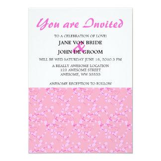 """Flores de cerezo rosadas y blancas invitación 5"""" x 7"""""""