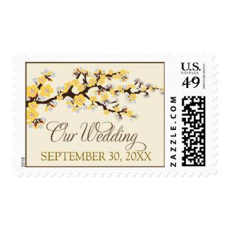 """Flores de cerezo sello de """"nuestro boda"""" (amarillo"""