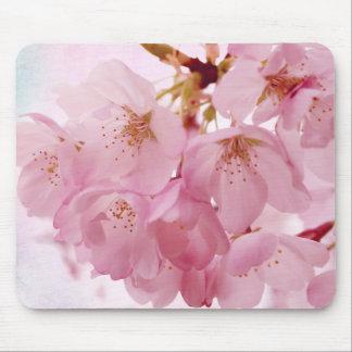 Flores de cerezo suaves del rosa del vintage alfombrillas de ratones