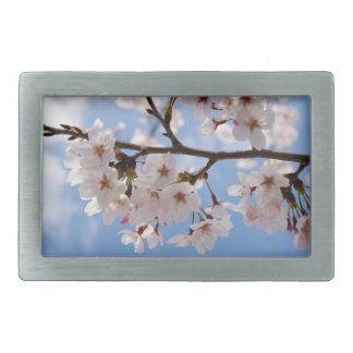 Flores de cerezo y cielo azul claro hebillas de cinturon rectangulares