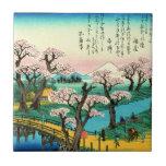 Flores de cerezo y el monte Fuji 1838 Azulejo Cuadrado Pequeño