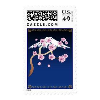 Flores de cerezo y franqueo del monte Fuji
