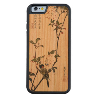 Flores de cerezo y pájaro del vintage funda de iPhone 6 bumper cerezo