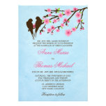 Flores de cerezo y pájaros del amor que casan la i comunicado personalizado
