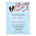 Flores de cerezo y pájaros del amor que casan la comunicado personalizado