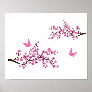 Flores de cerezo y pájaros póster