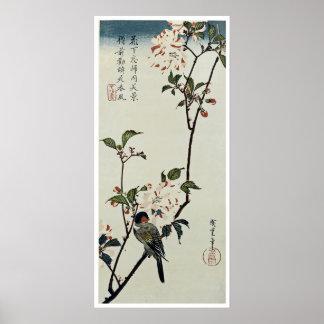 Flores de cerezo y pequeño pájaro posters