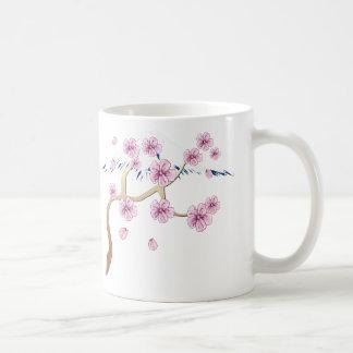 Flores de cerezo y taza del monte Fuji