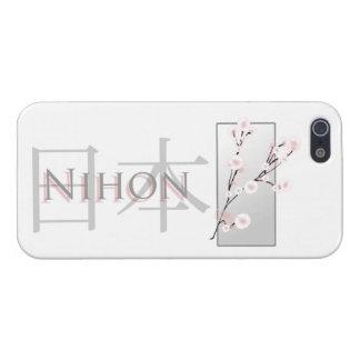 Flores de cerezo y texto rosados con kanji: Nihon iPhone 5 Carcasa