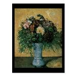 Flores de Cezanne en un florero azul Tarjetas Postales