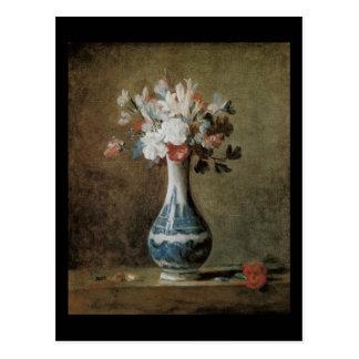 Flores de Chardin en un florero azul Postales