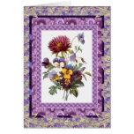 Flores de color de malva florales del vintage del  tarjeta