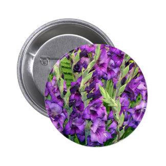 Flores de color de malva púrpuras de los gladiolos pin redondo de 2 pulgadas
