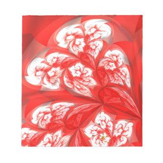 flores de color rojo oscuro del fractal (a) bloc de papel