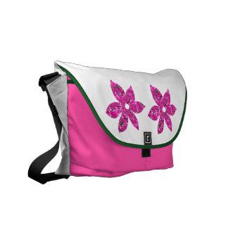 Flores de color rosa oscuro bolsas de mensajeria