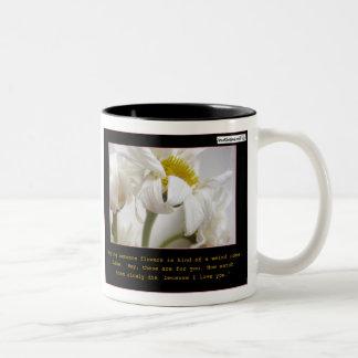 Flores de compra taza de café de dos colores