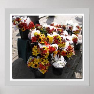 Flores de corte de la caída - el mercado de los gr póster