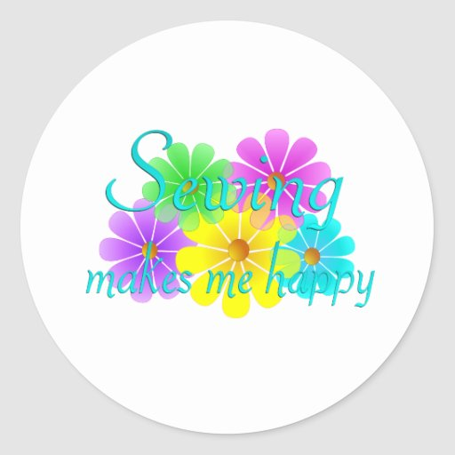 Flores de costura de la felicidad pegatina redonda