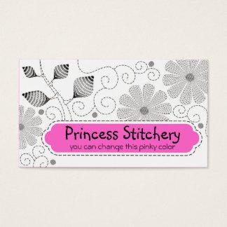 Flores de costura de las puntadas del bordado de tarjeta de negocios