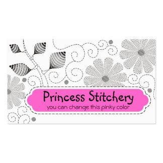 Flores de costura de las puntadas del bordado de tarjetas de visita