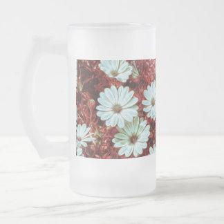 Flores de Daisie e impresión blancas pintadas del Taza De Cristal