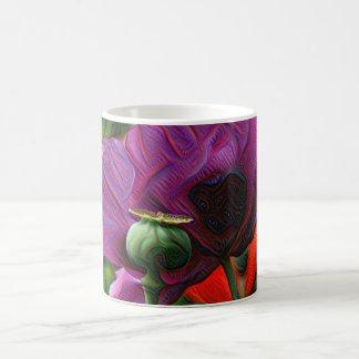 Flores de DeepDream, amapolas Taza