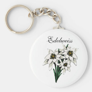 Flores de Edelweiss Llavero Redondo Tipo Pin