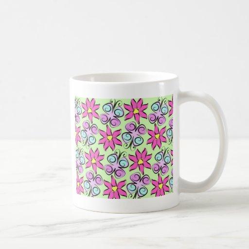 Flores de Flutterby Taza De Café