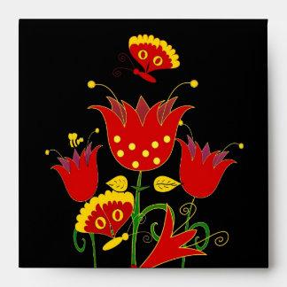 Flores de Forrest del rojo 4 del sobre