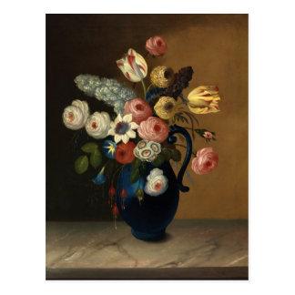 Flores de Gould en un jarro azul Tarjetas Postales