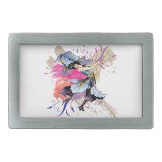 Flores de hadas del arte abstracto de la mujer del hebilla cinturon rectangular