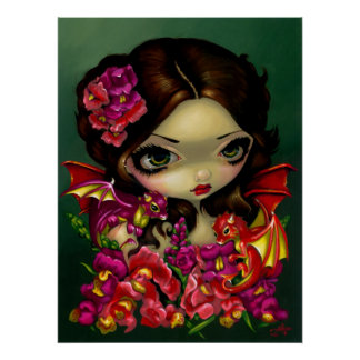 Flores de hadas del dragón de la fantasía de la IM Posters