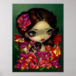 Flores de hadas del dragón de la fantasía de la IM Póster