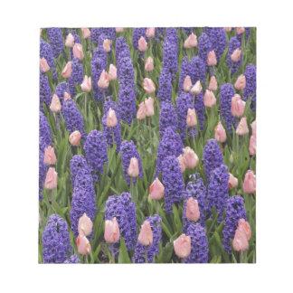Flores de Holanda de jacintos y de tulipanes rosa Bloc De Papel