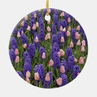Flores de Holanda de jacintos y de tulipanes rosa Adorno De Reyes
