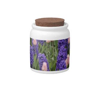 Flores de Holanda de jacintos y de tulipanes rosa Jarra Para Caramelo