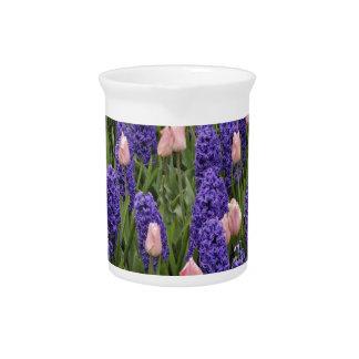 Flores de Holanda de jacintos y de tulipanes rosa Jarras Para Bebida