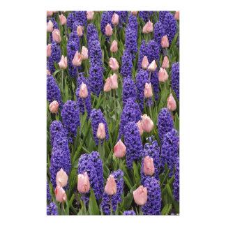 Flores de Holanda de jacintos y de tulipanes rosa Papeleria Personalizada