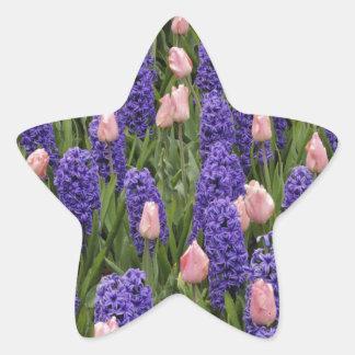 Flores de Holanda de jacintos y de tulipanes rosa Calcomanía Cuadrada Personalizada