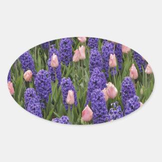 Flores de Holanda de jacintos y de tulipanes rosa Pegatina De Ovaladas