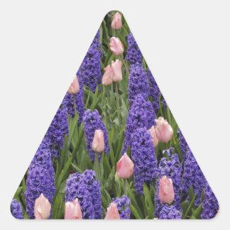 Flores de Holanda de jacintos y de tulipanes rosa Colcomanias Trianguladas