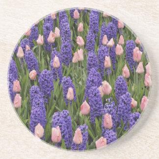Flores de Holanda de jacintos y de tulipanes rosa Posavaso Para Bebida