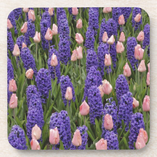 Flores de Holanda de jacintos y de tulipanes rosa Posavasos De Bebida