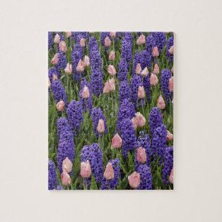 Flores de Holanda de jacintos y de tulipanes rosa Rompecabezas