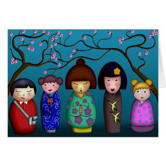 Flores de Kokeshi, tarjeta de felicitación