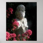 Flores de Kuan Yin Buda de la diosa del poster del